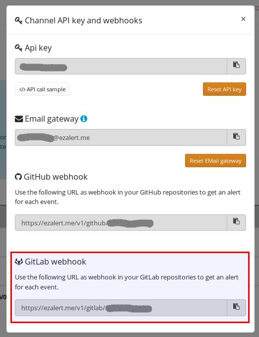 EZAlert.me GitLab webhook