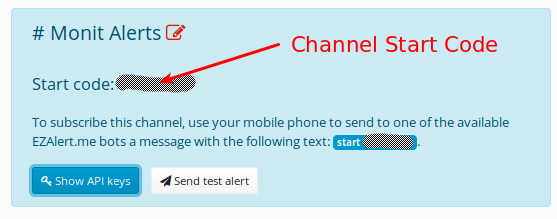 EZAlert.me channel start code
